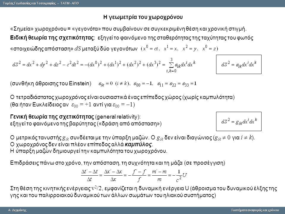 Tομέας Γεωδαισίας και Τοπογραφίας – ΤΑΤΜ - ΑΠΘ A. ΔερμάνηςΣυστήματα αναφοράς και χρόνου A. Δερμάνης Συστήματα αναφοράς και χρόνου H γεωμετρία του χωρο
