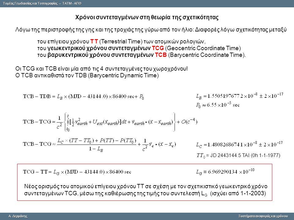 Tομέας Γεωδαισίας και Τοπογραφίας – ΤΑΤΜ - ΑΠΘ A. ΔερμάνηςΣυστήματα αναφοράς και χρόνου A. Δερμάνης Συστήματα αναφοράς και χρόνου Χρόνοι συντεταγμένων