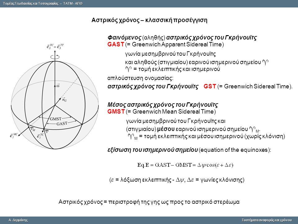 Tομέας Γεωδαισίας και Τοπογραφίας – ΤΑΤΜ - ΑΠΘ A. ΔερμάνηςΣυστήματα αναφοράς και χρόνου A. Δερμάνης Συστήματα αναφοράς και χρόνου Αστρικός χρόνος – κλ