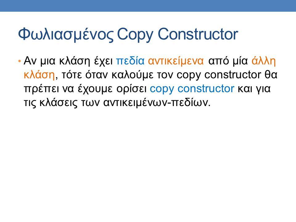 Φωλιασμένος Copy Constructor Αν μια κλάση έχει πεδία αντικείμενα από μία άλλη κλάση, τότε όταν καλούμε τον copy constructor θα πρέπει να έχουμε ορίσει copy constructor και για τις κλάσεις των αντικειμένων-πεδίων.