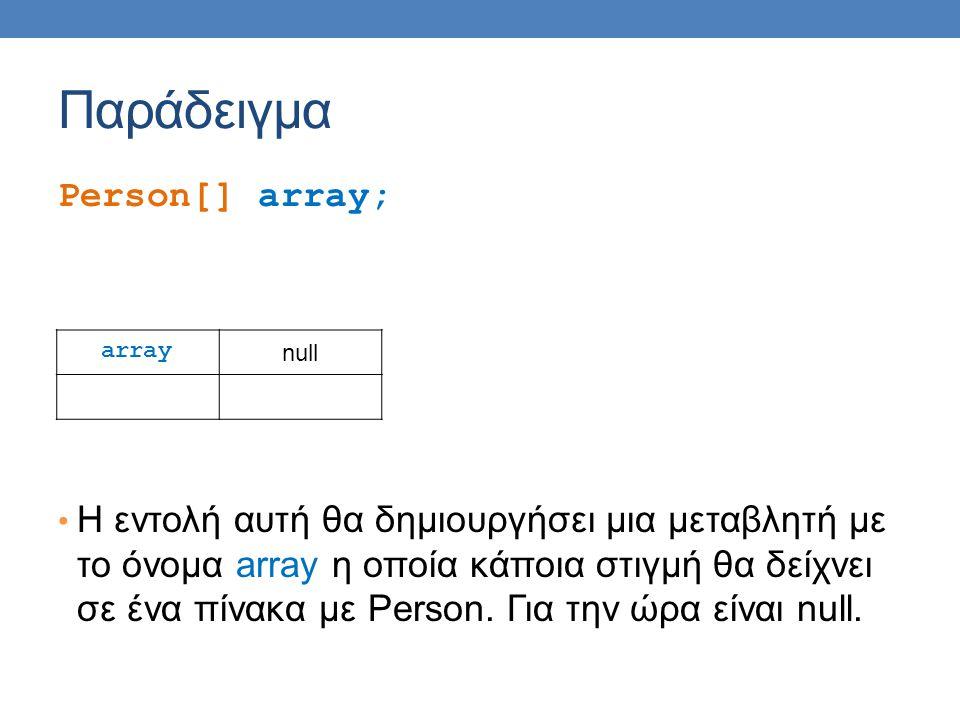 Παράδειγμα Person[] array; H εντολή αυτή θα δημιουργήσει μια μεταβλητή με το όνομα array η οποία κάποια στιγμή θα δείχνει σε ένα πίνακα με Person.