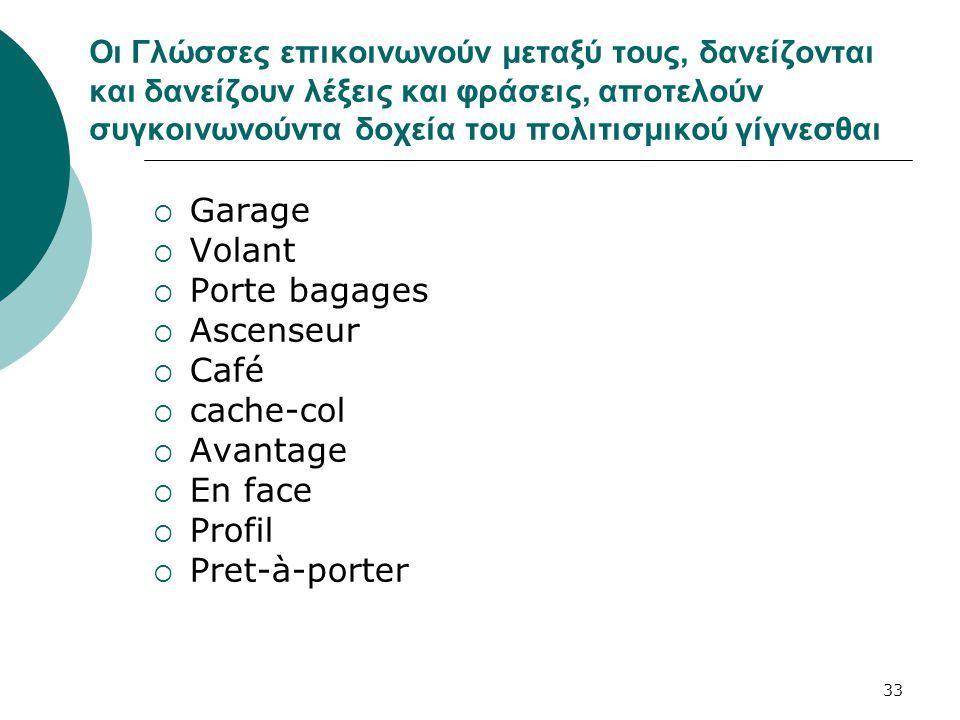 33 Οι Γλώσσες επικοινωνούν μεταξύ τους, δανείζονται και δανείζουν λέξεις και φράσεις, αποτελούν συγκοινωνούντα δοχεία του πολιτισμικού γίγνεσθαι  Gar