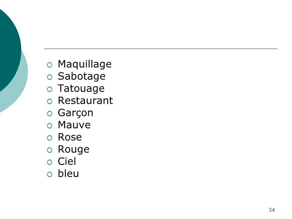 34  Maquillage  Sabotage  Tatouage  Restaurant  Garçon  Mauve  Rose  Rouge  Ciel  bleu