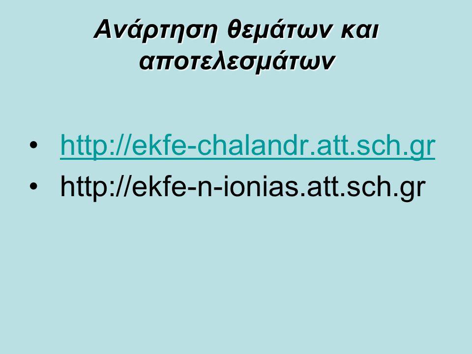 Ανάρτηση θεμάτων και αποτελεσμάτων http://ekfe-chalandr.att.sch.gr http://ekfe-n-ionias.att.sch.gr
