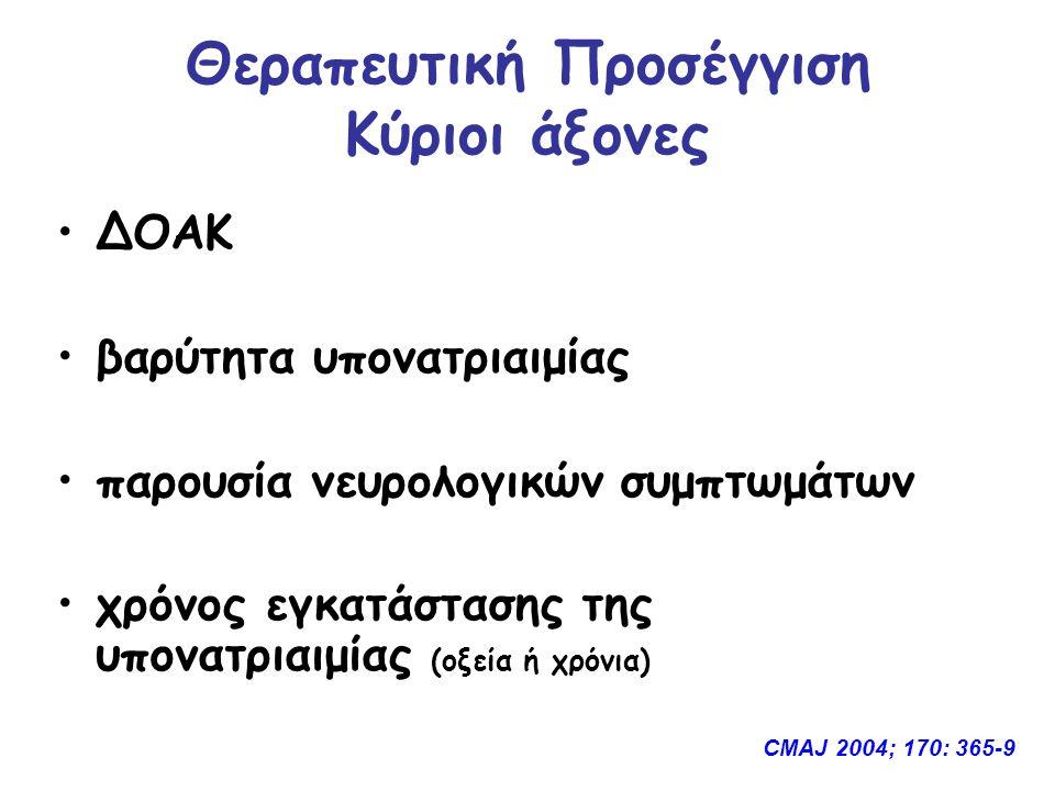 Θεραπευτική Προσέγγιση Κύριοι άξονες ΔΟΑΚ βαρύτητα υπονατριαιμίας παρουσία νευρολογικών συμπτωμάτων χρόνος εγκατάστασης της υπονατριαιμίας (οξεία ή χρόνια) CMAJ 2004; 170: 365-9