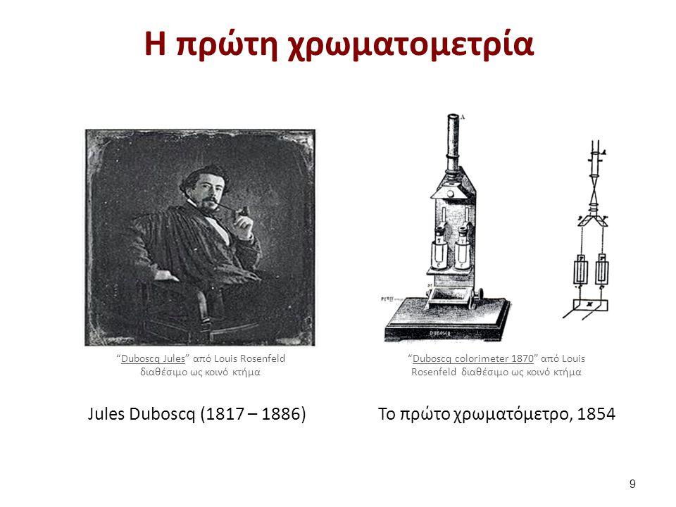 "Jules Duboscq (1817 – 1886)Το πρώτο χρωματόμετρο, 1854 Η πρώτη χρωματομετρία 9 ""Duboscq Jules"" από Louis Rosenfeld διαθέσιμο ως κοινό κτήμαDuboscq Jul"