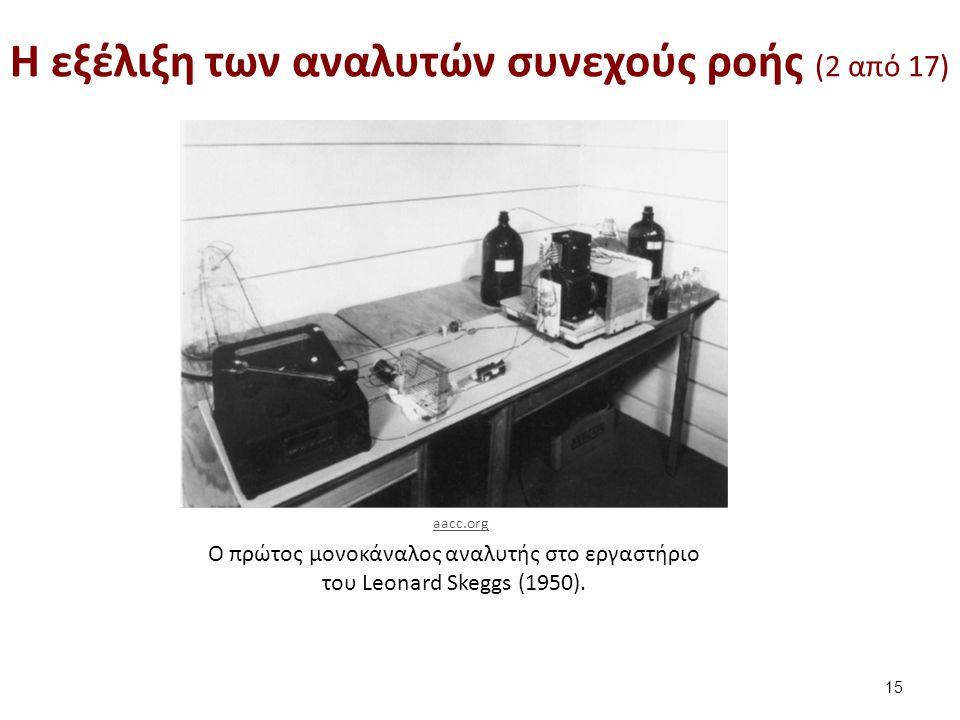 O πρώτος μονοκάναλος αναλυτής στο εργαστήριο του Leonard Skeggs (1950). H εξέλιξη των αναλυτών συνεχούς ροής (2 από 17) 15 aacc.org