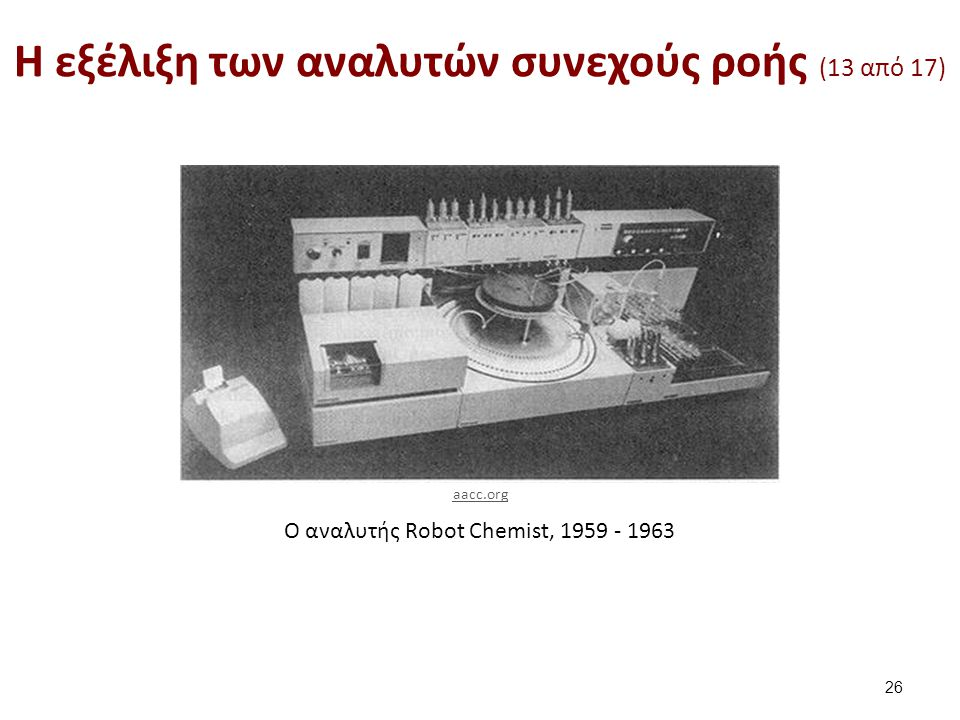 Ο αναλυτής Robot Chemist, 1959 - 1963 H εξέλιξη των αναλυτών συνεχούς ροής (13 από 17) 26 aacc.org