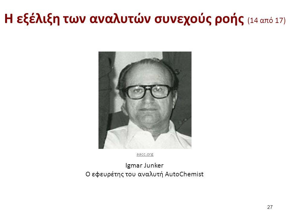Igmar Junker O εφευρέτης του αναλυτή AutoChemist H εξέλιξη των αναλυτών συνεχούς ροής (14 από 17) 27 aacc.org