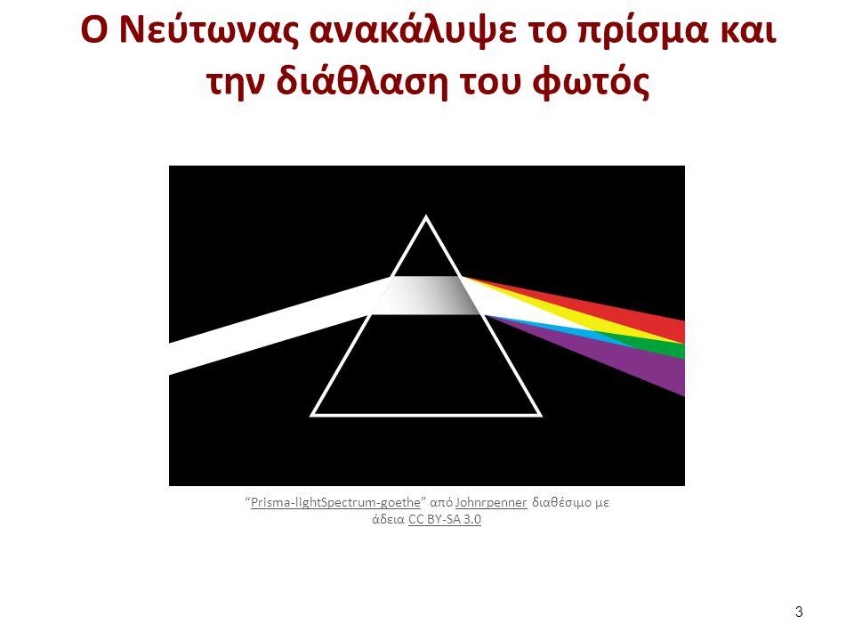 """Ο Νεύτωνας ανακάλυψε το πρίσμα και την διάθλαση του φωτός 3 """"Prisma-lightSpectrum-goethe"""" από Johnrpenner διαθέσιμο με άδεια CC BY-SA 3.0Prisma-lightS"""