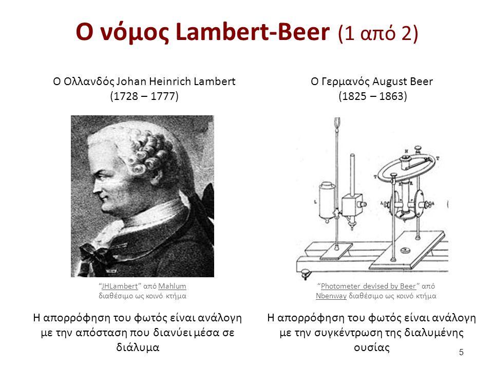 O Ολλανδός Johan Heinrich Lambert (1728 – 1777) O Γερμανός August Beer (1825 – 1863) H απορρόφηση του φωτός είναι ανάλογη με την απόσταση που διανύει