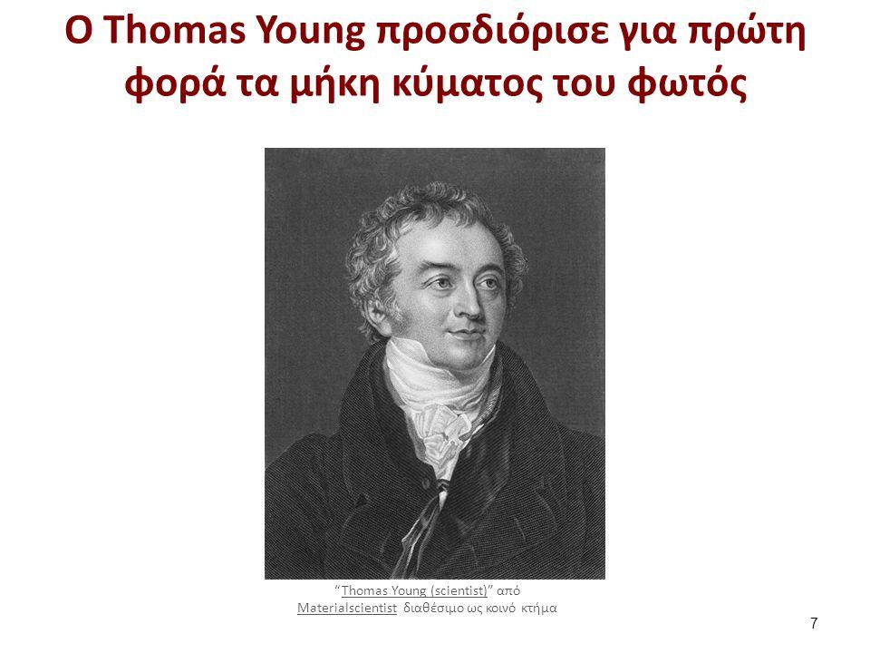 """Ο Τhomas Young προσδιόρισε για πρώτη φορά τα μήκη κύματος του φωτός 7 """"Thomas Young (scientist)"""" από Materialscientist διαθέσιμο ως κοινό κτήμαThomas"""