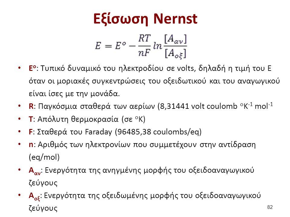 Εξίσωση Nernst E o : Τυπικό δυναμικό του ηλεκτροδίου σε volts, δηλαδή η τιμή του Ε όταν οι μοριακές συγκεντρώσεις του οξειδωτικού και του αναγωγικού ε