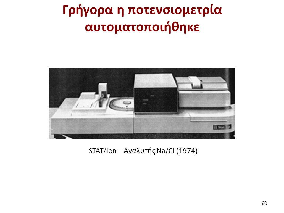 STAT/Ion – Aναλυτής Νa/Cl (1974) Γρήγορα η ποτενσιομετρία αυτοματοποιήθηκε 90
