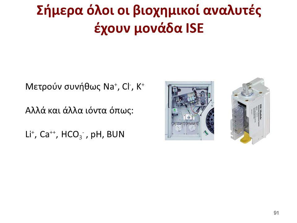 Μετρούν συνήθως Νa +, Cl -, K + Αλλά και άλλα ιόντα όπως: Li +, Ca ++, HCO 3 -, pH, BUN Σήμερα όλοι οι βιοχημικοί αναλυτές έχουν μονάδα ISE 91
