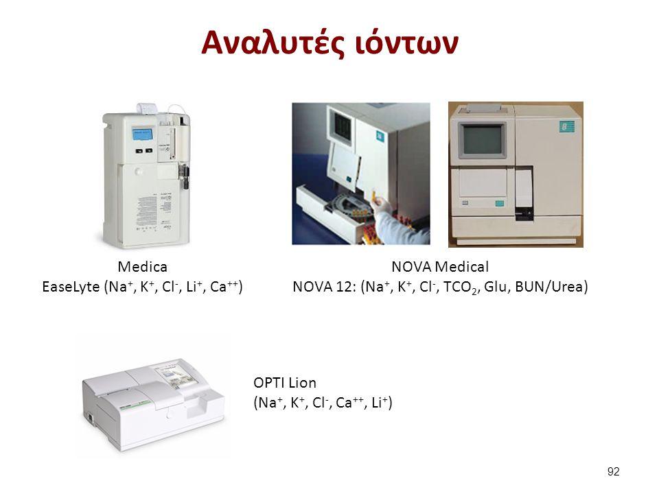 Medica EaseLyte (Na +, K +, Cl -, Li +, Ca ++ ) NOVA Medical NOVA 12: (Na +, K +, Cl -, TCO 2, Glu, BUN/Urea) OPTI Lion (Na +, K +, Cl -, Ca ++, Li +