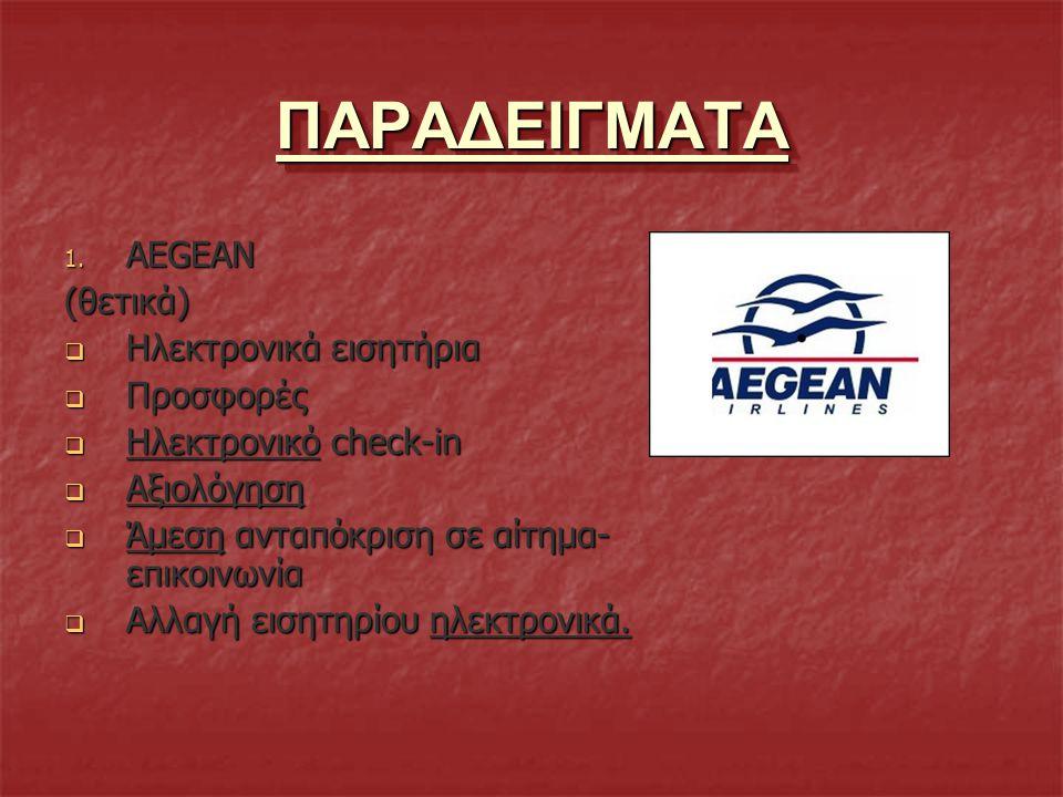ΠΑΡΑΔΕΙΓΜΑΤΑΠΑΡΑΔΕΙΓΜΑΤΑ 1. AEGEAN (θετικά)  Hλεκτρονικά εισητήρια  Προσφορές  Ηλεκτρονικό check-in  Αξιολόγηση  Άμεση ανταπόκριση σε αίτημα- επι