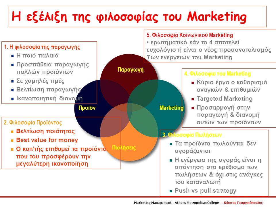 Παραγωγή MarketingΠροϊόν Πωλήσεις 1. Η φιλοσοφία της παραγωγής n Η ποιό παλαιά n Προσπάθεια παραγωγής πολλών προϊόντων n Σε χαμηλές τιμές n Βελτίωση π