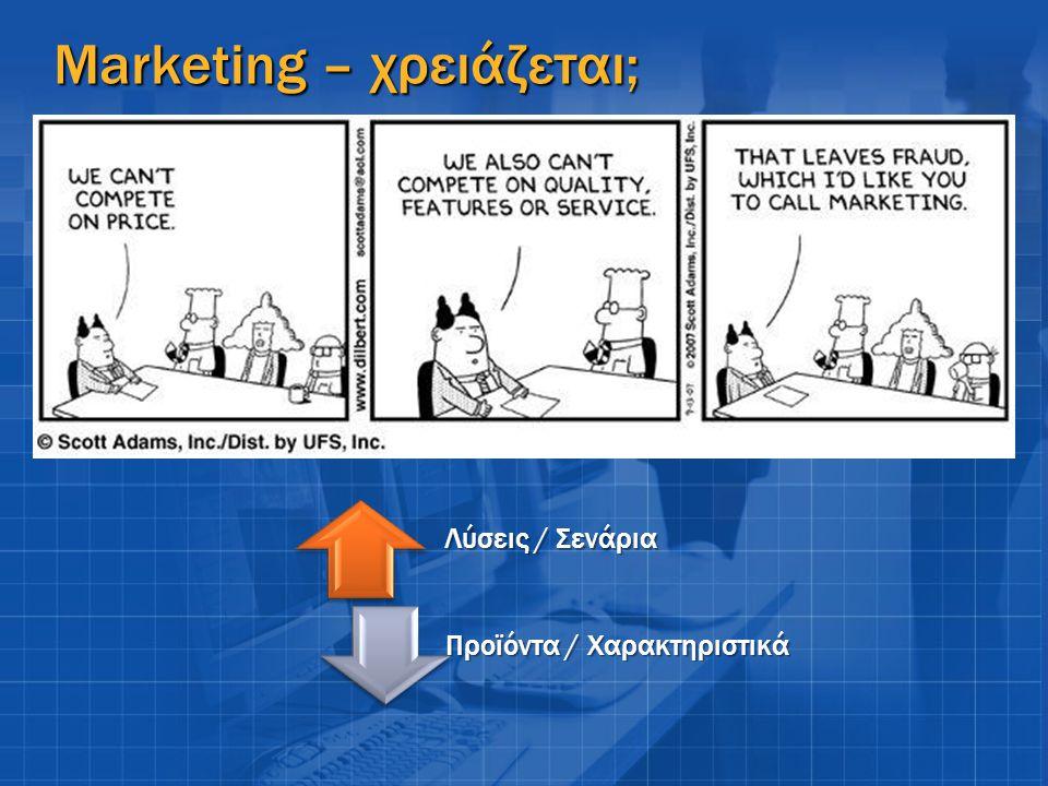 Marketing – χρειάζεται; Λύσεις / Σενάρια Προϊόντα / Χαρακτηριστικά