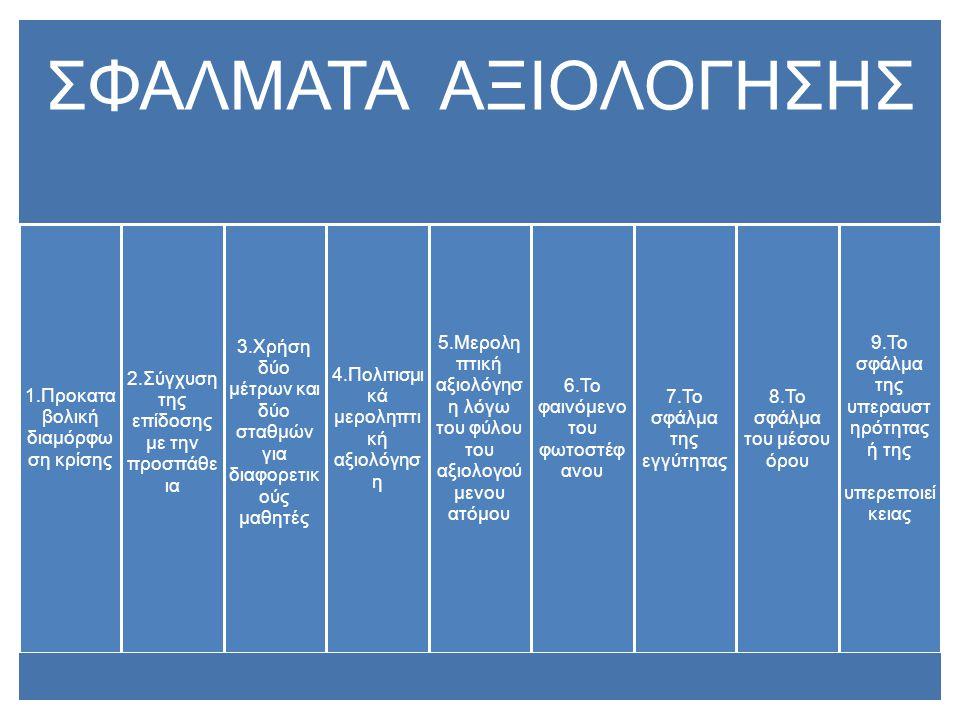 ΣΦΑΛΜΑΤΑ ΑΞΙΟΛΟΓΗΣΗΣ 1.Προκατα βολική διαμόρφω ση κρίσης 2.Σύγχυση της επίδοσης με την προσπάθε ια 3.Χρήση δύο μέτρων και δύο σταθμών για διαφορετικ ο