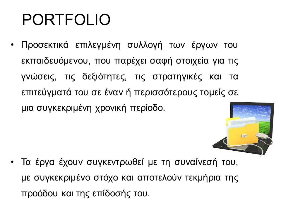 PORTFOLIO Προσεκτικά επιλεγμένη συλλογή των έργων του εκπαιδευόμενου, που παρέχει σαφή στοιχεία για τις γνώσεις, τις δεξιότητες, τις στρατηγικές και τ