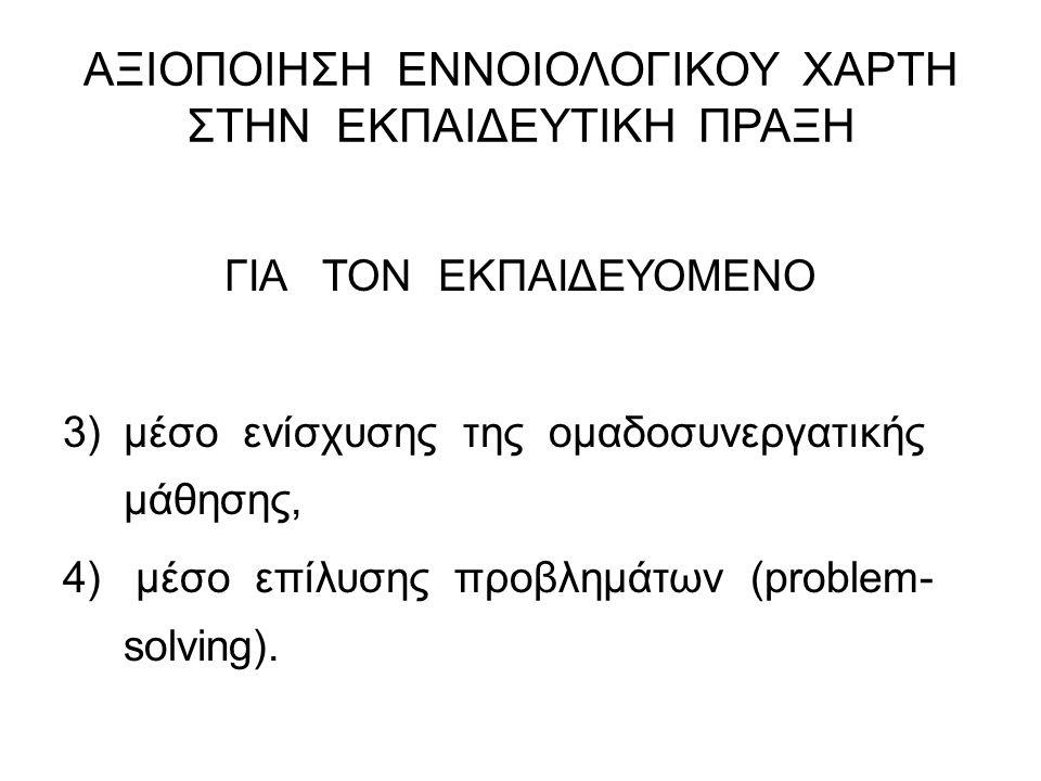 ΑΞΙΟΠΟΙΗΣΗ ΕΝΝΟΙΟΛΟΓΙΚΟΥ ΧΑΡΤΗ ΣΤΗΝ ΕΚΠΑΙΔΕΥΤΙΚΗ ΠΡΑΞΗ ΓΙΑ ΤΟΝ ΕΚΠΑΙΔΕΥΟΜΕΝΟ 3)μέσο ενίσχυσης της ομαδοσυνεργατικής μάθησης, 4) μέσο επίλυσης προβλημά