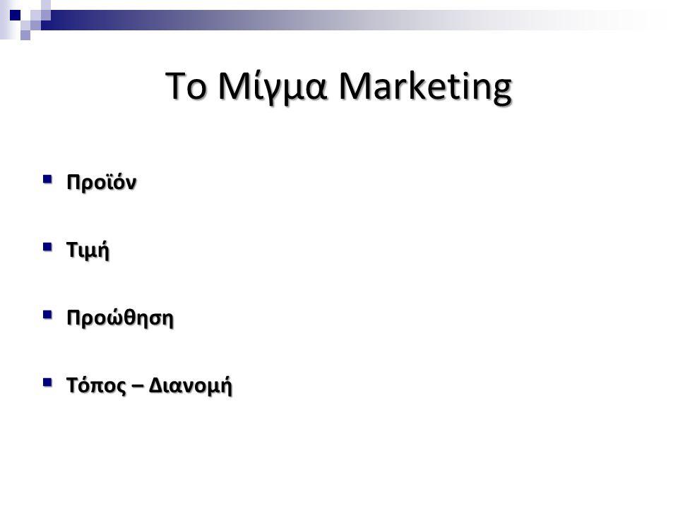 Το Μίγμα Marketing  Προϊόν  Τιμή  Προώθηση  Τόπος – Διανομή