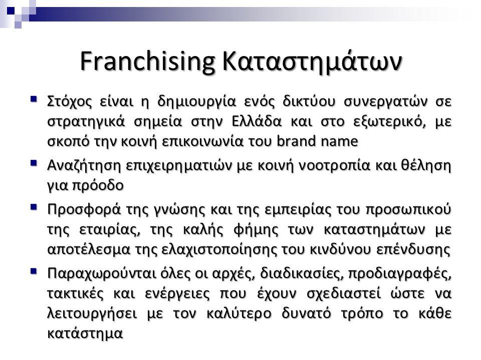 Franchising Καταστημάτων  Στόχος είναι η δημιουργία ενός δικτύου συνεργατών σε στρατηγικά σημεία στην Ελλάδα και στο εξωτερικό, με σκοπό την κοινή επ