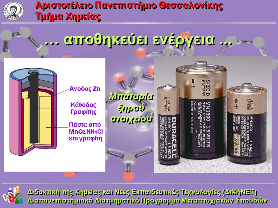 Aριστοτέλειο Πανεπιστήμιο Θεσσαλονίκης Τμήμα Χημείας … αποθηκεύει ενέργεια... Μπαταρία ξηρού στοιχείου Μπαταρία ξηρού στοιχείου Διδακτική της Χημείας