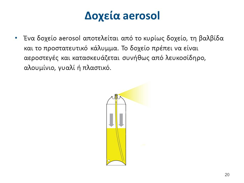 Δοχεία aerosol Ένα δοχείο aerosol αποτελείται από το κυρίως δοχείο, τη βαλβίδα και το προστατευτικό κάλυμμα. Το δοχείο πρέπει να είναι αεροστεγές και