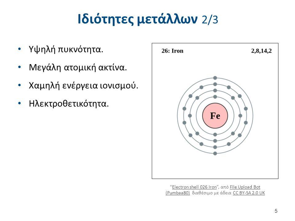 """Υψηλή πυκνότητα. Μεγάλη ατομική ακτίνα. Χαμηλή ενέργεια ιονισμού. Ηλεκτροθετικότητα. 5 Ιδιότητες μετάλλων 2/3 """"Electron shell 026 Iron"""", από File Uplo"""