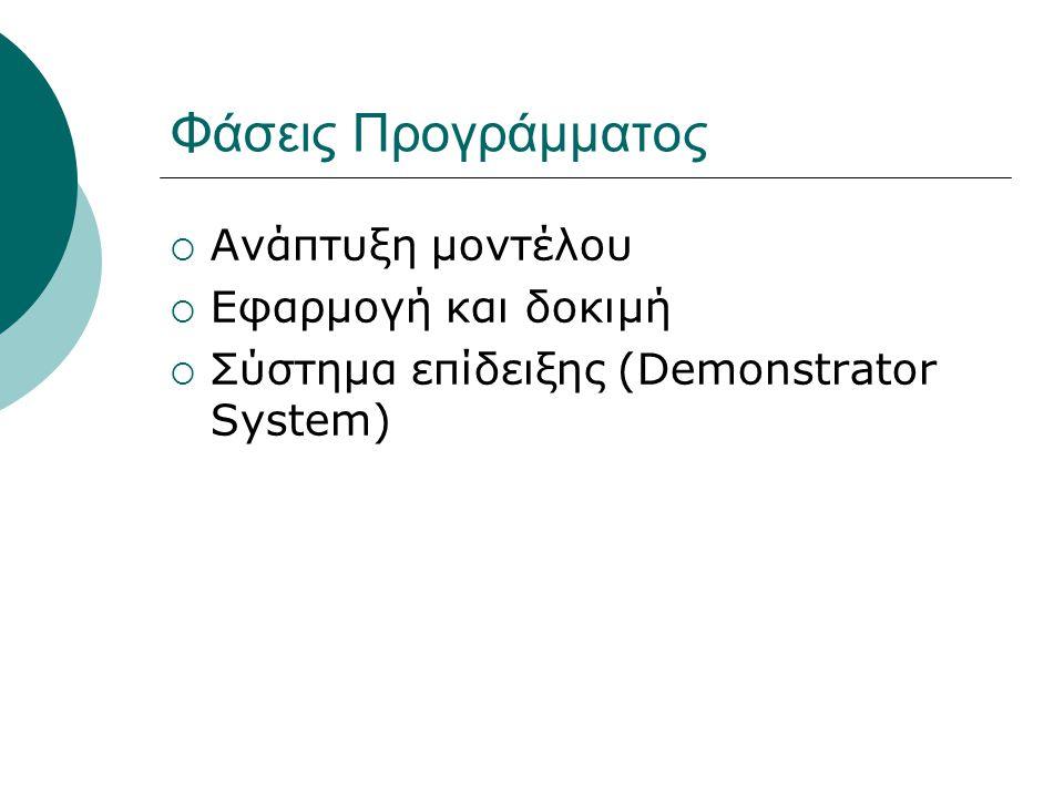 Φάσεις Προγράμματος  Ανάπτυξη μοντέλου  Εφαρμογή και δοκιμή  Σύστημα επίδειξης (Demonstrator System)