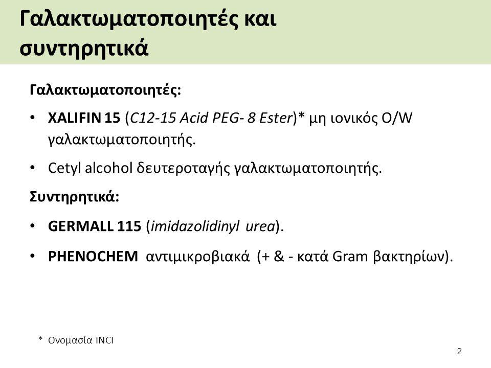 Γαλακτωματοποιητές και συντηρητικά Γαλακτωματοποιητές: XALIFIN 15 (C12-15 Acid PEG- 8 Ester)* μη ιονικός O/W γαλακτωματοποιητής.
