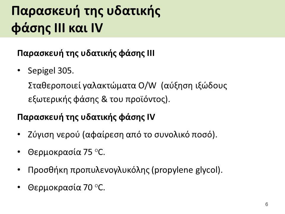 Παρασκευή διασποράς του πολυμερούς Ζύγιση ξεχωριστά των DOW CORNING 245 (cyclomethicone) και POLYTRAP 6603.