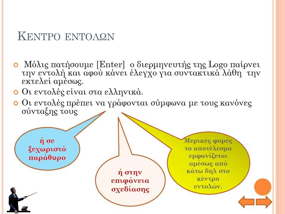 Τ Ο ΠΕΡΙΒΑΛΛΟΝ ΕΡΓΑΣΙΑΣ Κέντρο εντολών Χώρος γραφικών (σελίδα) Χώρος σύνταξης διαδικασιών