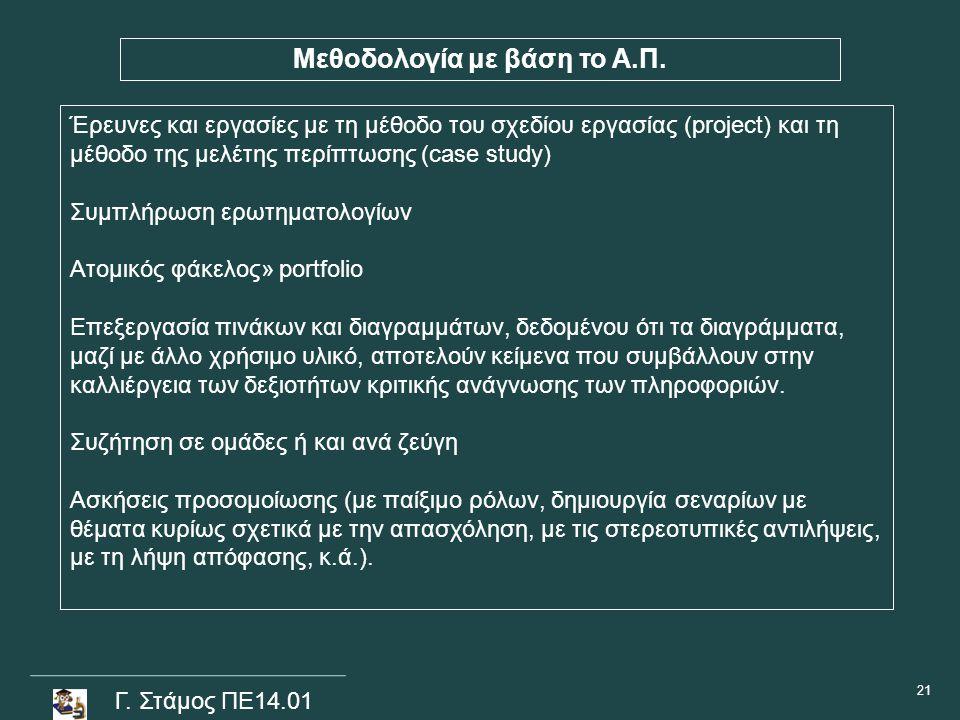 Γ. Στάμος ΠΕ14.01 Μεθοδολογία με βάση το Α.Π. Έρευνες και εργασίες με τη μέθοδο του σχεδίου εργασίας (project) και τη μέθοδο της μελέτης περίπτωσης (c