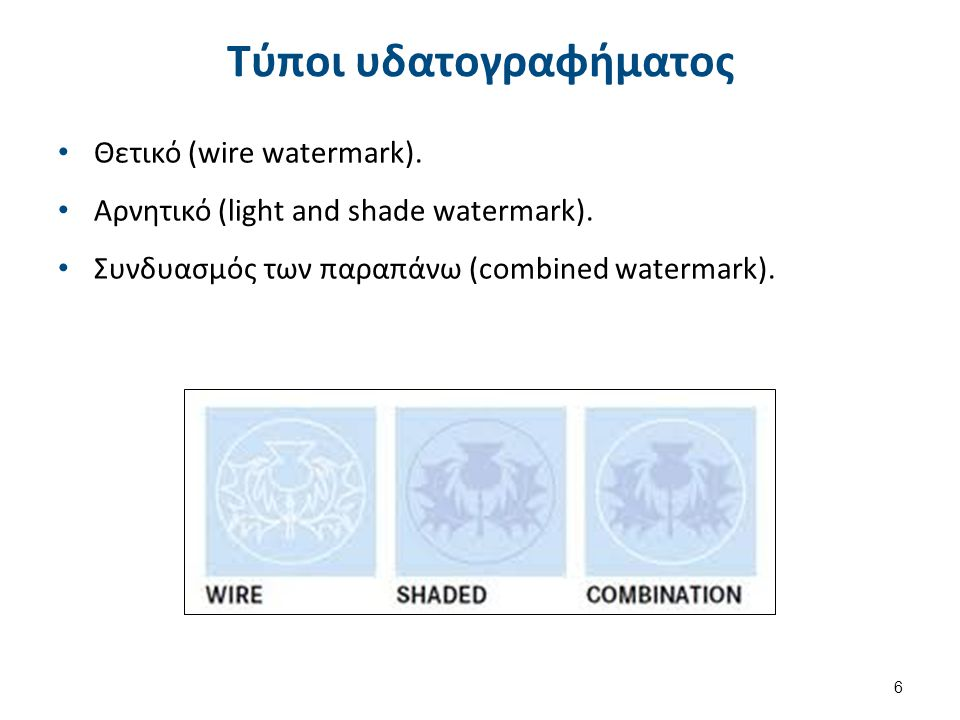 Θετικό (wire watermark). Αρνητικό (light and shade watermark). Συνδυασμός των παραπάνω (combined watermark). 6 Τύποι υδατογραφήματος