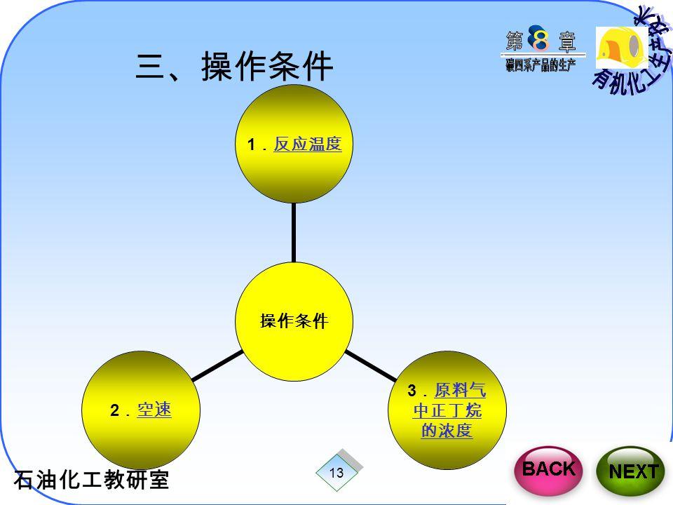 石油化工教研室 13 三、操作条件 操作条 件 1 .反应温 度反应温 度 3 .原料气 中正丁烷的 浓度原料气 中正丁烷的 浓度 2 .空速空速