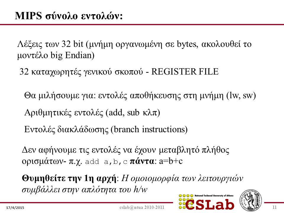 17/4/2015 cslab@ntua 2010-201111 MIPS σύνολο εντολών: Λέξεις των 32 bit (μνήμη οργανωμένη σε bytes, ακολουθεί το μοντέλο big Εndian) 32 καταχωρητές γε