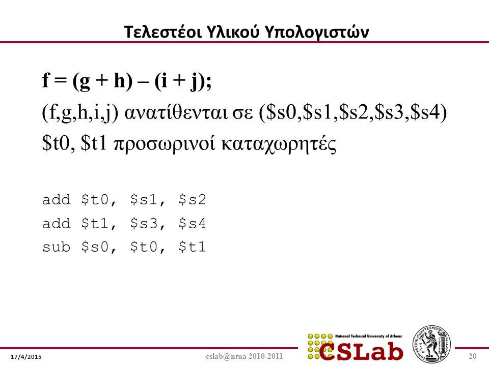 17/4/2015 cslab@ntua 2010-201120 f = (g + h) – (i + j); (f,g,h,i,j) ανατίθενται σε ($s0,$s1,$s2,$s3,$s4) $t0, $t1 προσωρινοί καταχωρητές add $t0, $s1,