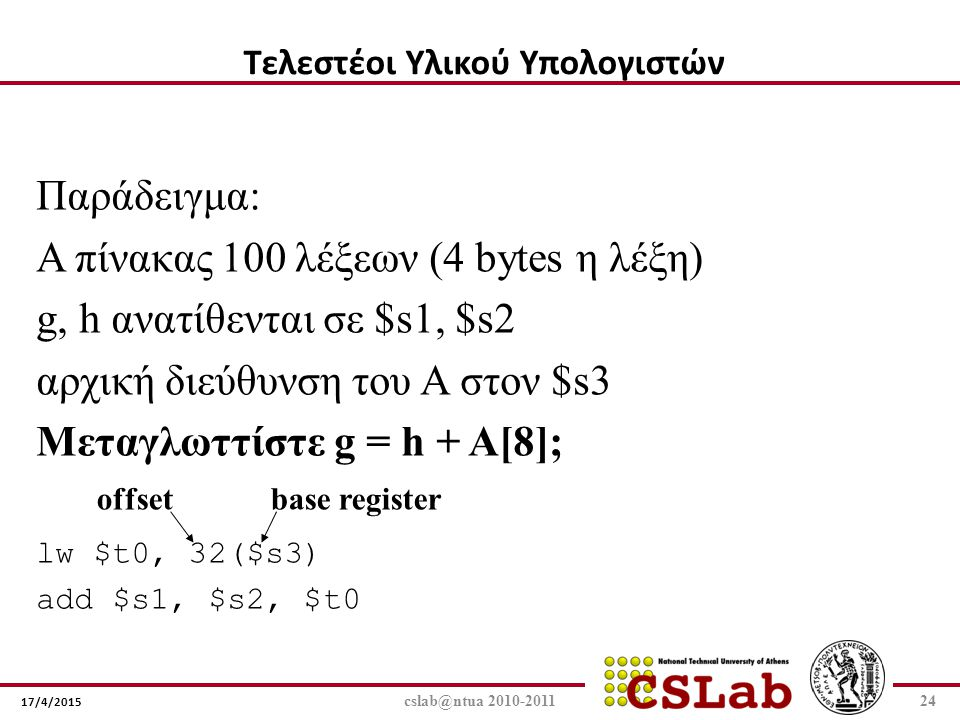 17/4/2015 cslab@ntua 2010-201124 Παράδειγμα: Α πίνακας 100 λέξεων (4 bytes η λέξη) g, h ανατίθενται σε $s1, $s2 αρχική διεύθυνση του A στον $s3 Μεταγλ