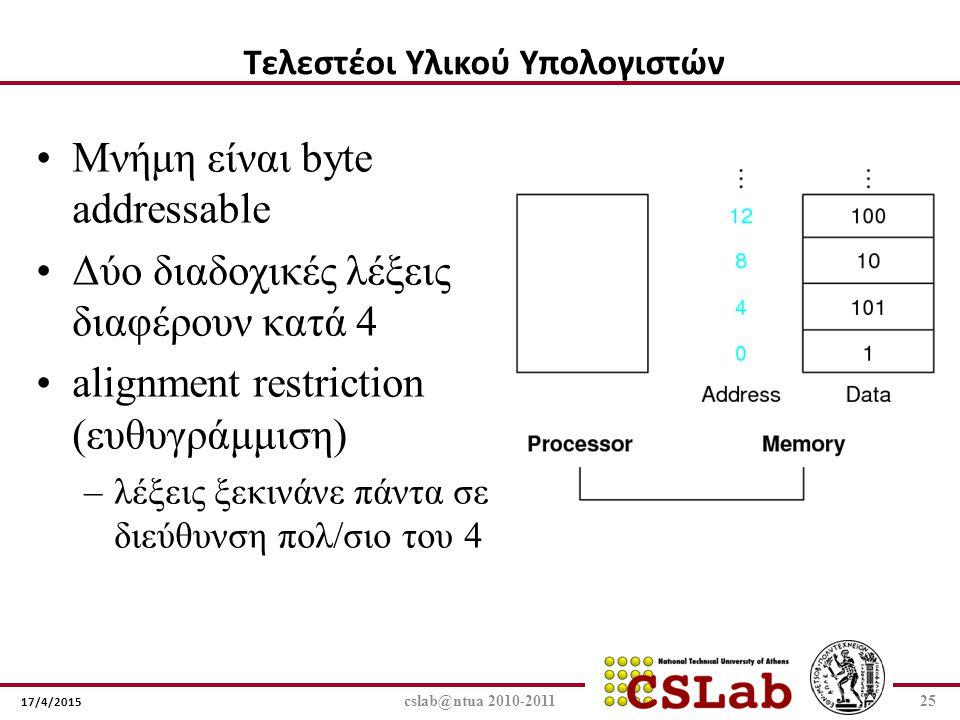 17/4/2015 cslab@ntua 2010-201125 Μνήμη είναι byte addressable Δύο διαδοχικές λέξεις διαφέρουν κατά 4 alignment restriction (ευθυγράμμιση) –λέξεις ξεκι