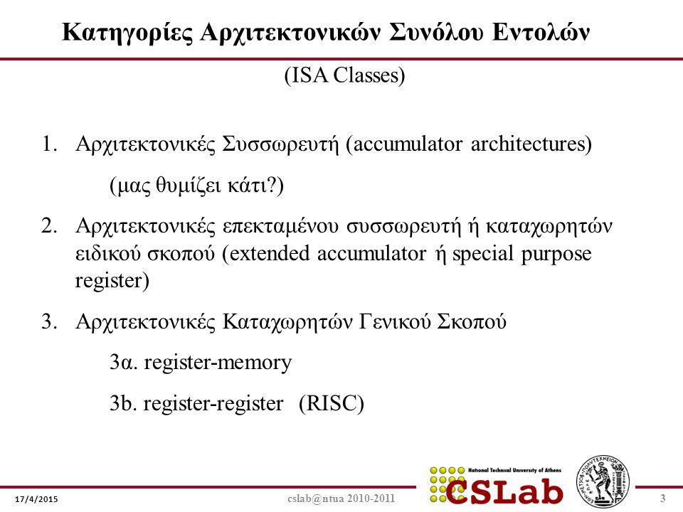 17/4/2015 cslab@ntua 2010-20113 Κατηγορίες Αρχιτεκτονικών Συνόλου Εντολών (ISA Classes) 1.Αρχιτεκτονικές Συσσωρευτή (accumulator architectures) (μας θ