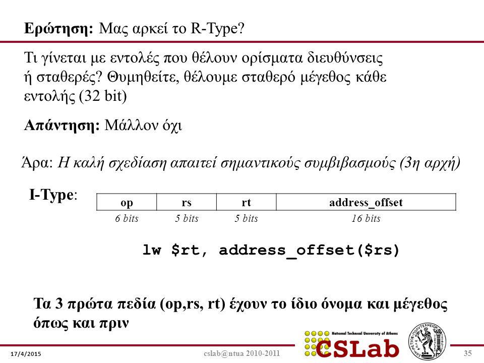 17/4/2015 cslab@ntua 2010-201135 Ερώτηση: Μας αρκεί το R-Type? Τι γίνεται με εντολές που θέλουν ορίσματα διευθύνσεις ή σταθερές? Θυμηθείτε, θέλουμε στ