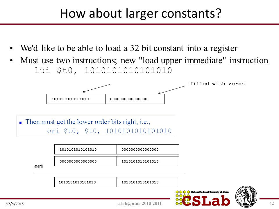 17/4/2015 cslab@ntua 2010-201142 We'd like to be able to load a 32 bit constant into a register Must use two instructions; new