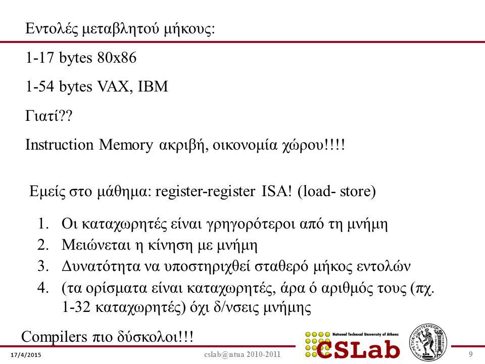17/4/2015 cslab@ntua 2010-20119 Εντολές μεταβλητού μήκους: 1-17 bytes 80x86 1-54 bytes VAX, IBM Γιατί?? Ιnstruction Memory ακριβή, οικονομία χώρου!!!!
