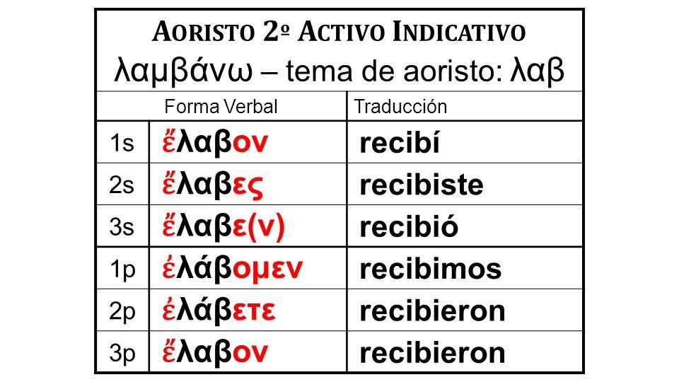 lab ei/n raíz en aoristo desinencia del presente lamba,nw en Aoristo (2º) Activo Infinitivo.