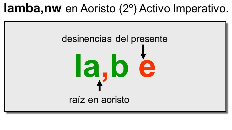 la,b e raíz en aoristo desinencias del presente lamba,nw en Aoristo (2º) Activo Imperativo.