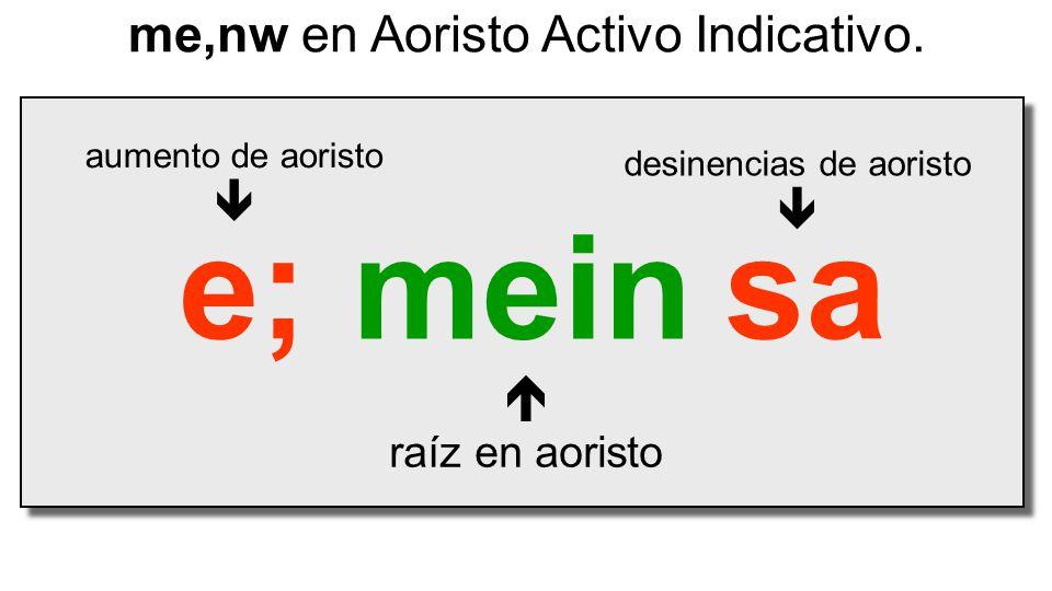 mein  raíz en aoristo me,nw en Aoristo Activo Indicativo. e;sa desinencias de aoristo  aumento de aoristo 