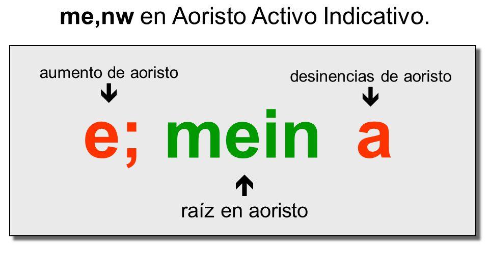 mein  raíz en aoristo me,nw en Aoristo Activo Indicativo. e;a desinencias de aoristo  aumento de aoristo 